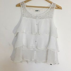 Garage white lace ruffle button detail blouse xs